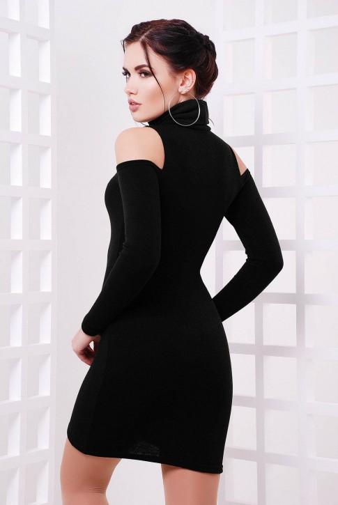 Черное платье с вышивкой и вырезами на плечах (фото 2)