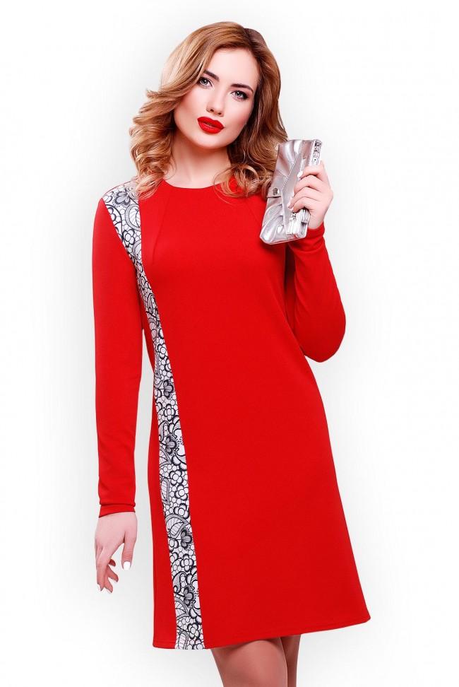 Недорогое красное платье из трикотажа-кукуруза