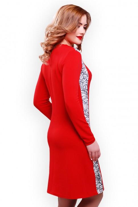 Недорогое красное платье из трикотажа-кукуруза (фото 2)