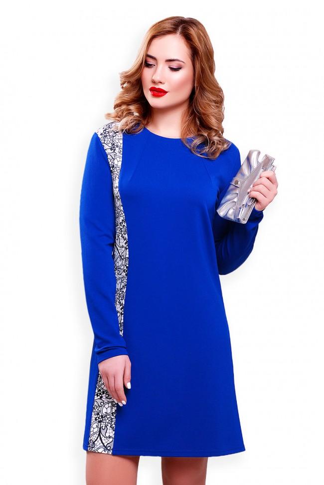 Ярко синее платье из трикотажа-кукуруза с вставкой