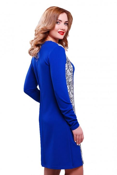 Ярко синее платье из трикотажа-кукуруза с вставкой (фото 2)