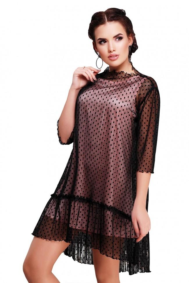 Прозрачное платье в горошек с воланами