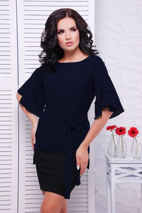 Шифоновая блузка, темно-синяя BZ-1530H | Распродажа