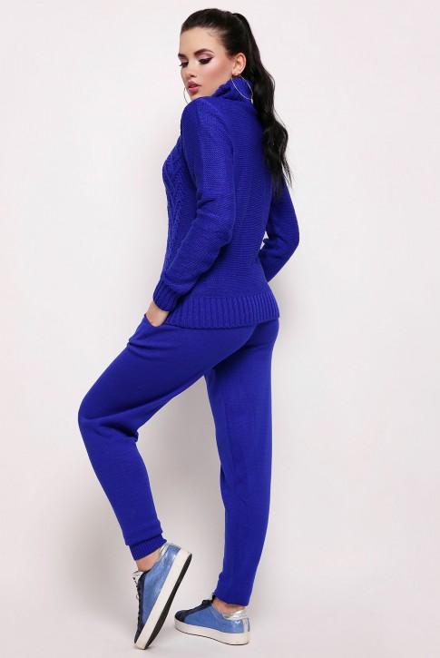 Ярко-синий вязаный костюм с высоким горлом (фото 2)