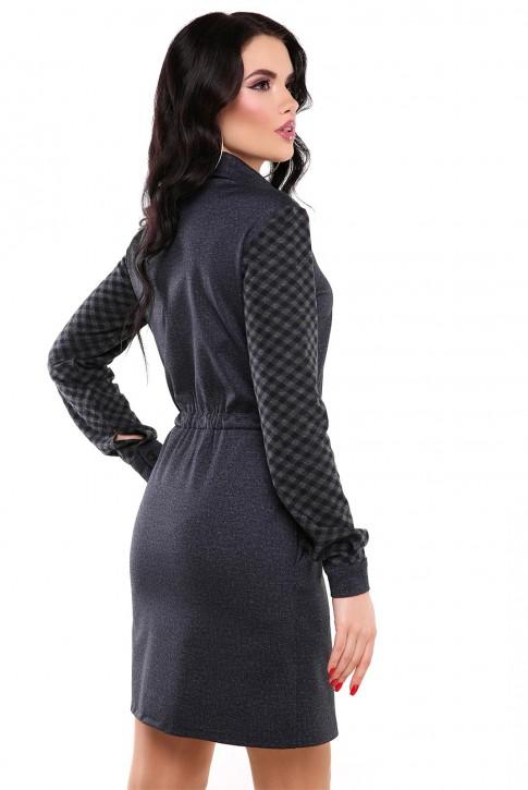 Темно-синее платье из джерси  (фото 2)