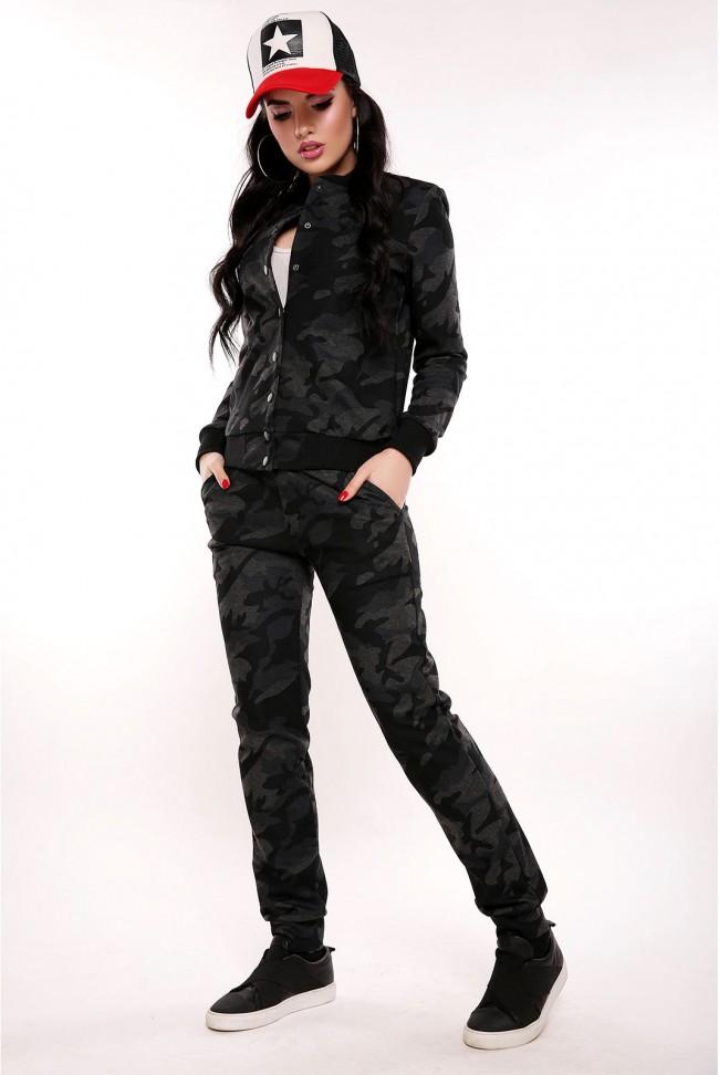 """Женский черно-серый камуфляжный костюм """"Militaire"""""""