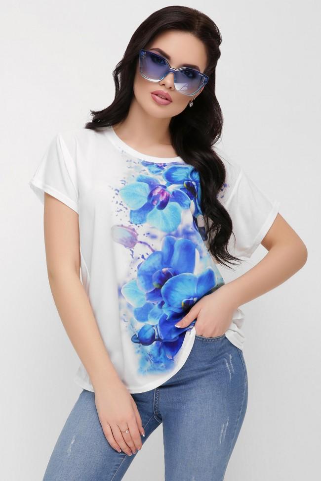 """Футболка с голубыми орхидеями - """"Air"""" FB-1614B"""
