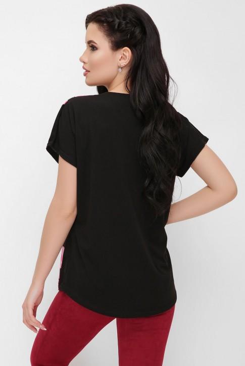 """Черная футболка с цветочным принтом - """"Air"""" FB-1614D1 (фото 2)"""