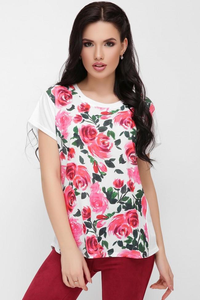 "Женская футболка с цветами роз - ""Air"" FB-1614E"