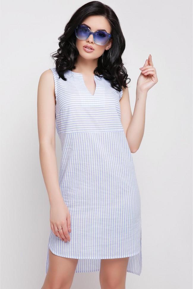 Платье Lily без рукавов в голубую полоску