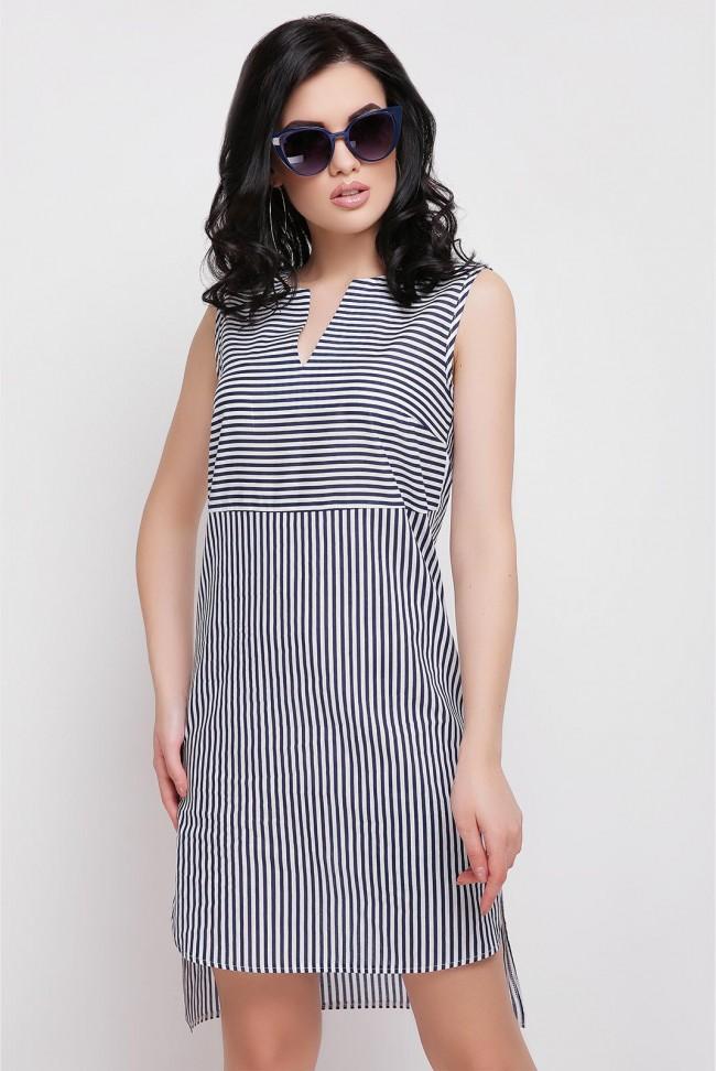 Платье в полоску с удлиненным подолом