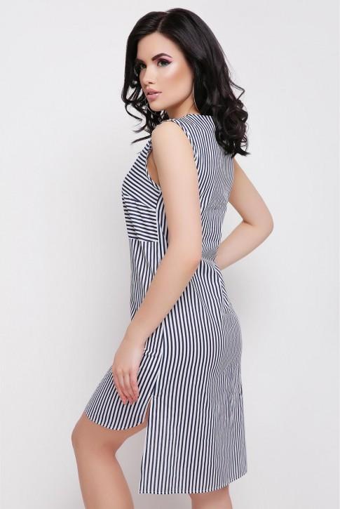 Платье в полоску с удлиненным подолом (фото 2)