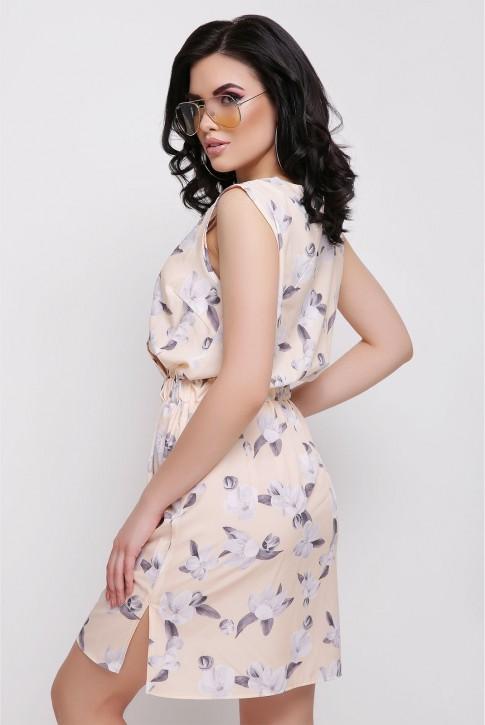 Бежевое платье с цветочным принтом (фото 2)