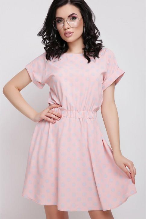 Персиковое платье Angelica в серый горох
