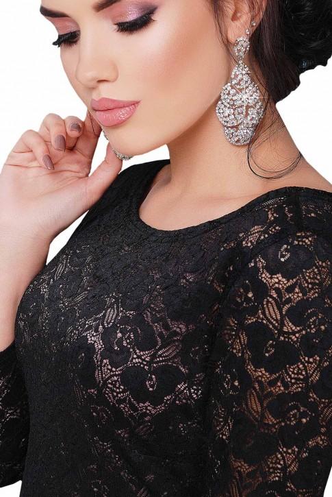 Коктейльное черное платье из гипюра (фото 2)
