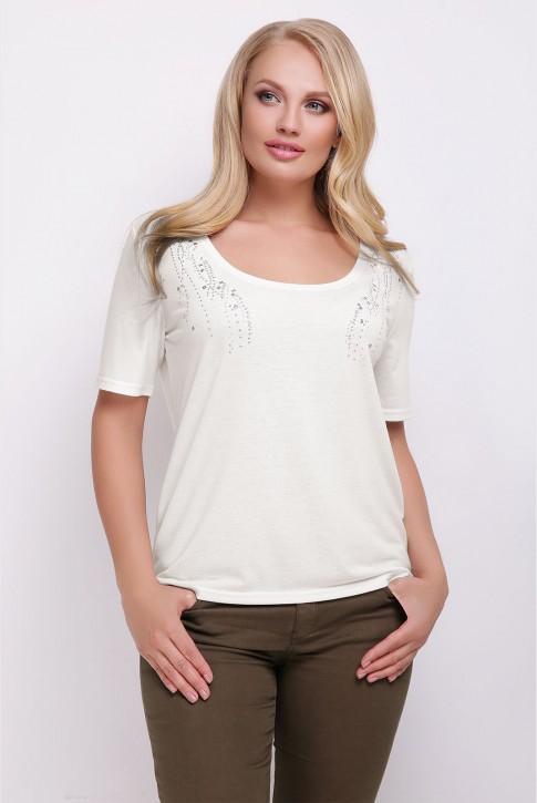 Женская летняя футболка из вискозы цвета молоко