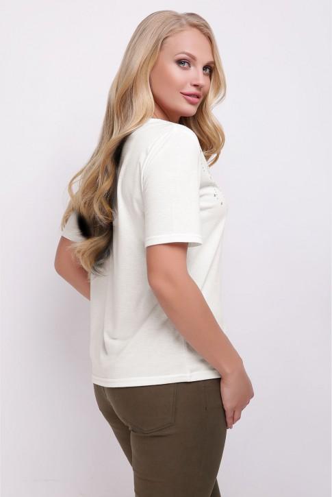 Женская летняя футболка из вискозы цвета молоко (фото 2)