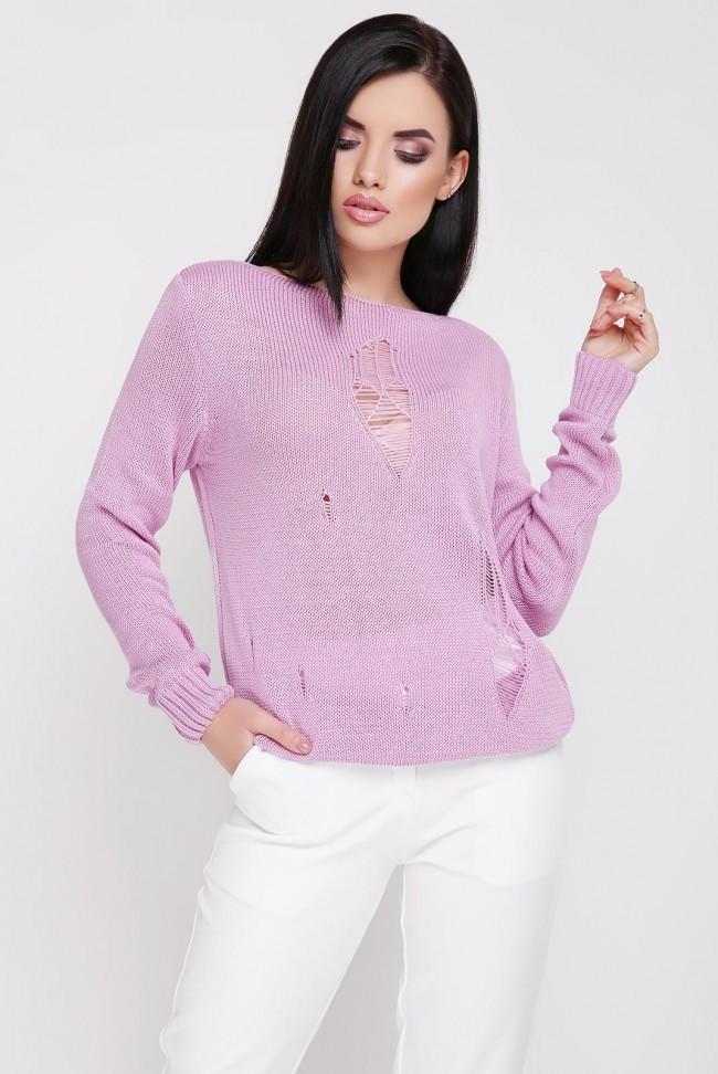 Легкий свитер с дырками, сиреневый SVR0002