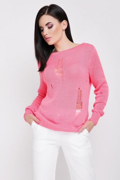 Легкий свитер с дырками, коралловый SVR0004