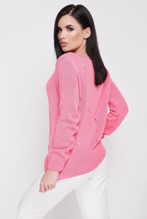 Легкий свитер с дырками, коралловый SVR0004 (фото 2)