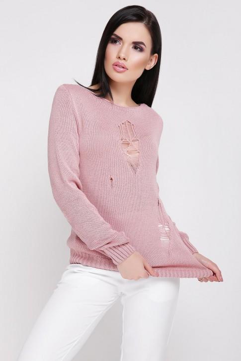 Легкий свитер с дырками, пудровый SVR0007