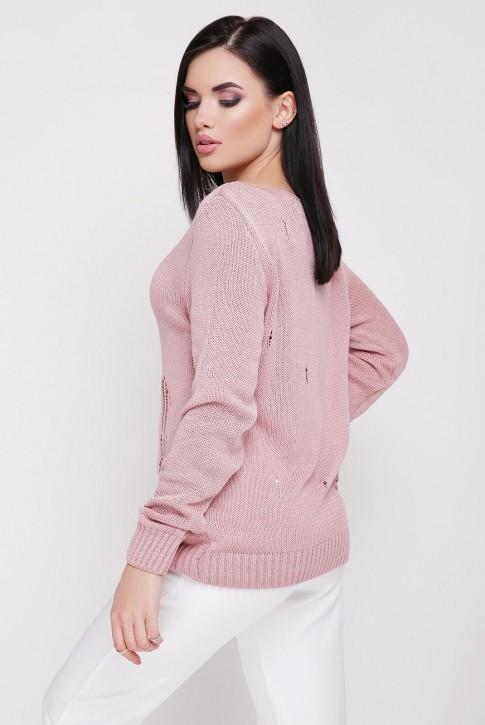 Легкий свитер с дырками, пудровый SVR0007 (фото 2)