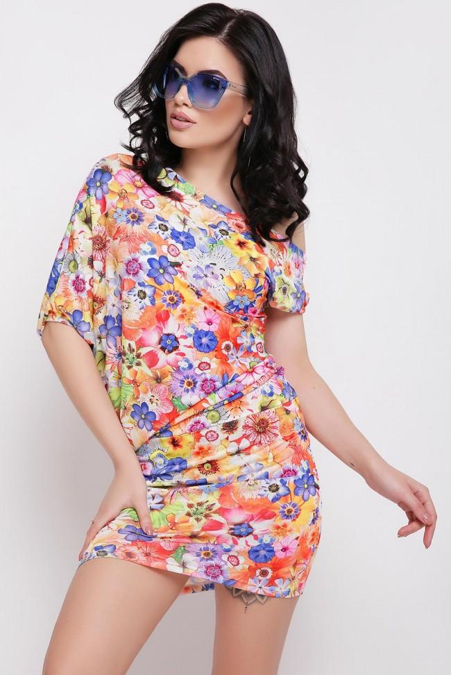 Летнее платье миди с цветочным принтом