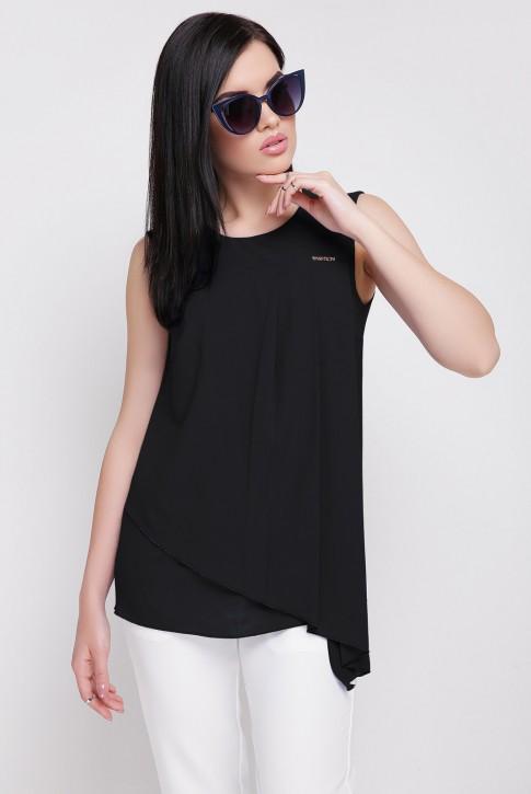Летняя черная блузка без рукавов