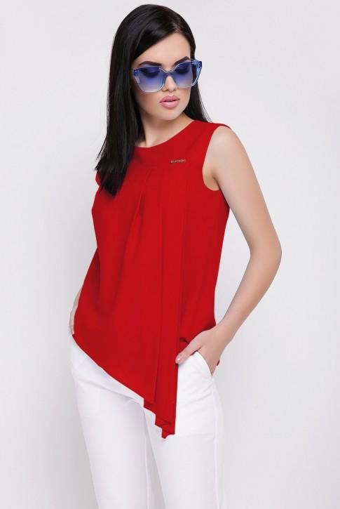 Летняя красная блузка без рукавов