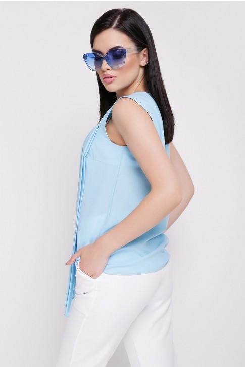 Голубая блузка без рукавов (фото 2)