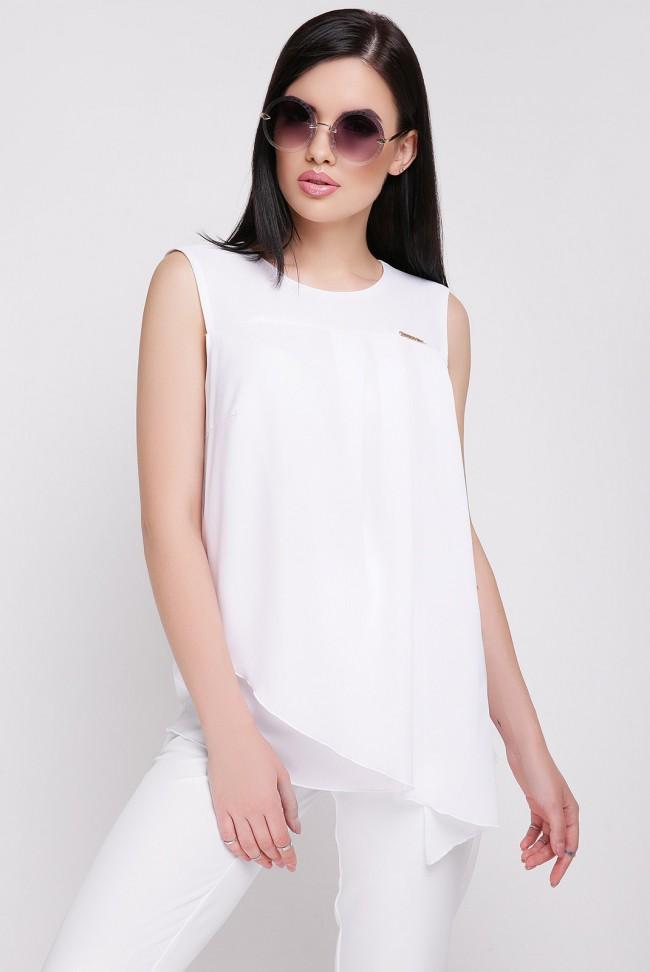 Блузка белая без рукавов из шифона