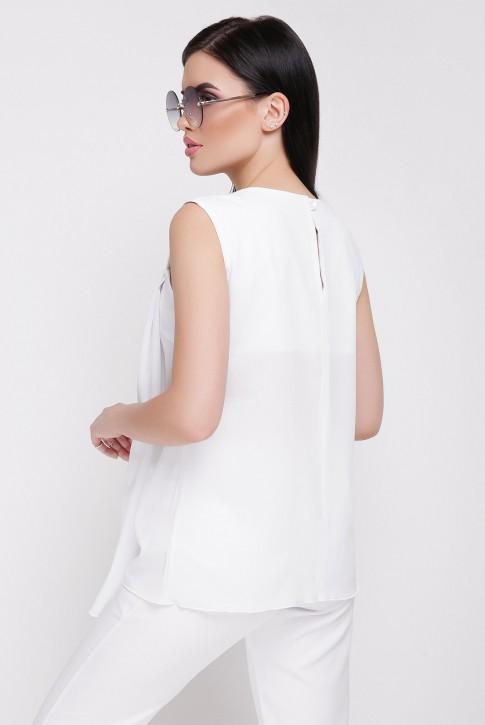 Блузка белая без рукавов из шифона (фото 2)