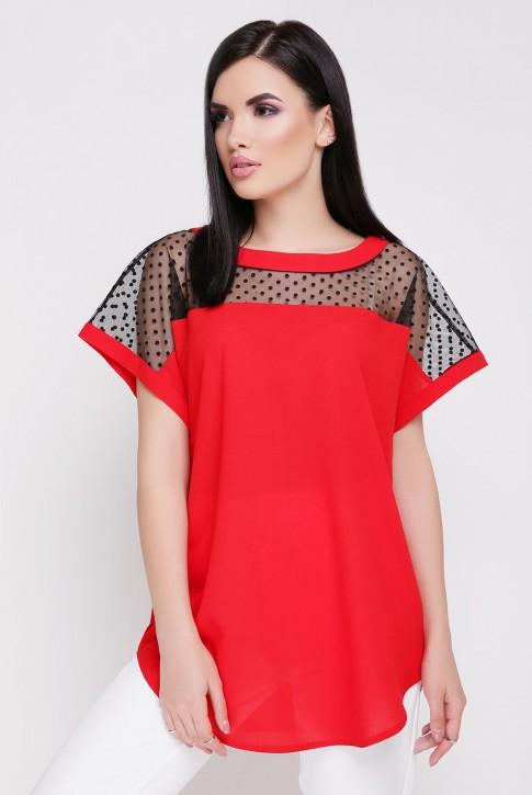 Красная шифоновая блузка с сеткой (фото 2)