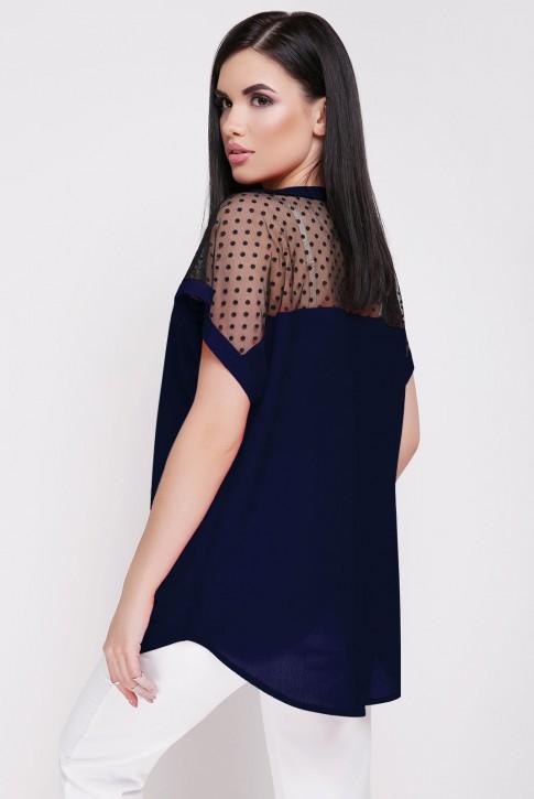 Летняя блузка темно-синего цвета с сеткой (фото 2)