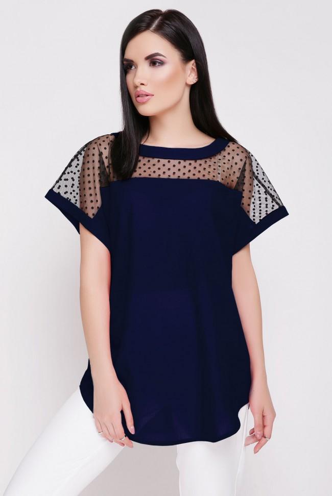 Летняя блузка темно-синего цвета с сеткой