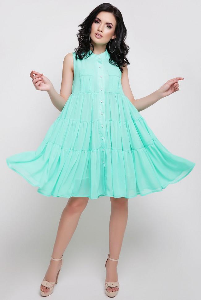 Летнее элегантное платье А силуэта цвета ментол