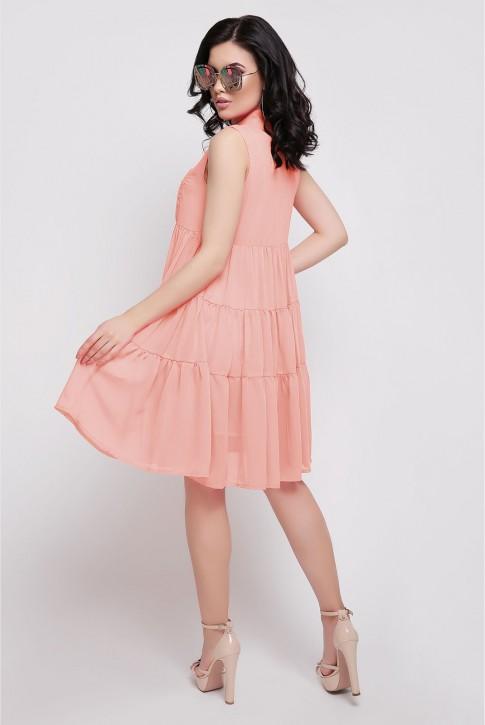 Платье персикового цвета полуприталенное (фото 2)