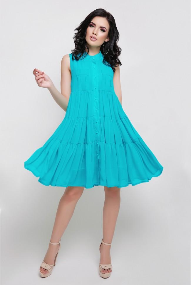 Летнее ярко голубое платье на пуговицах. PL-1638F.
