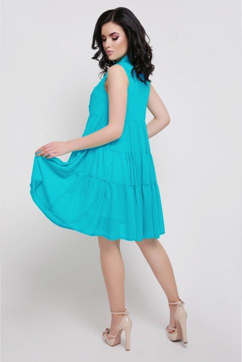 Летнее ярко голубое платье на пуговицах. PL-1638F. (фото 2)