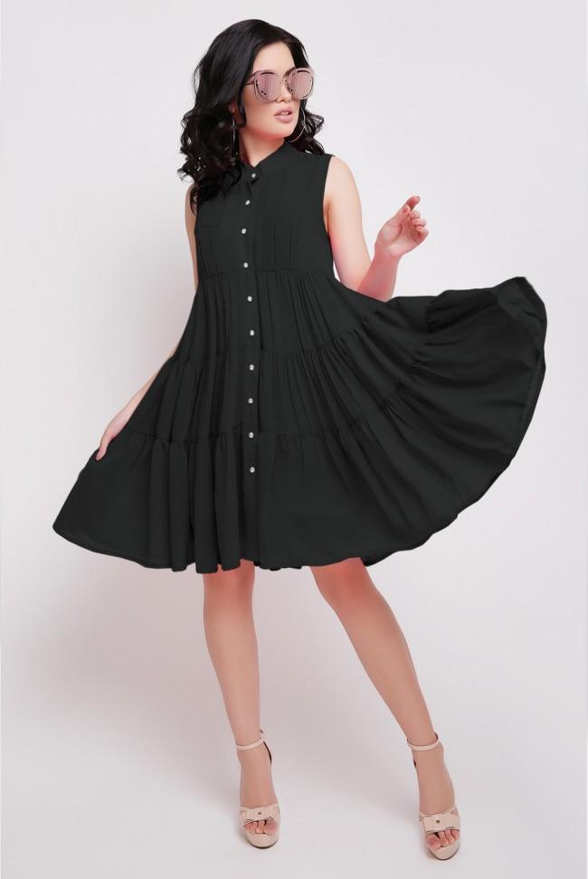 Летнее черное платье Princess без рукавов. PL-1638E.