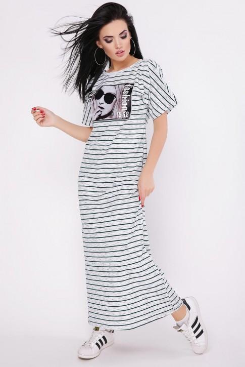 Платье в полоску с коротким рукавом PL-1642A (фото 2)