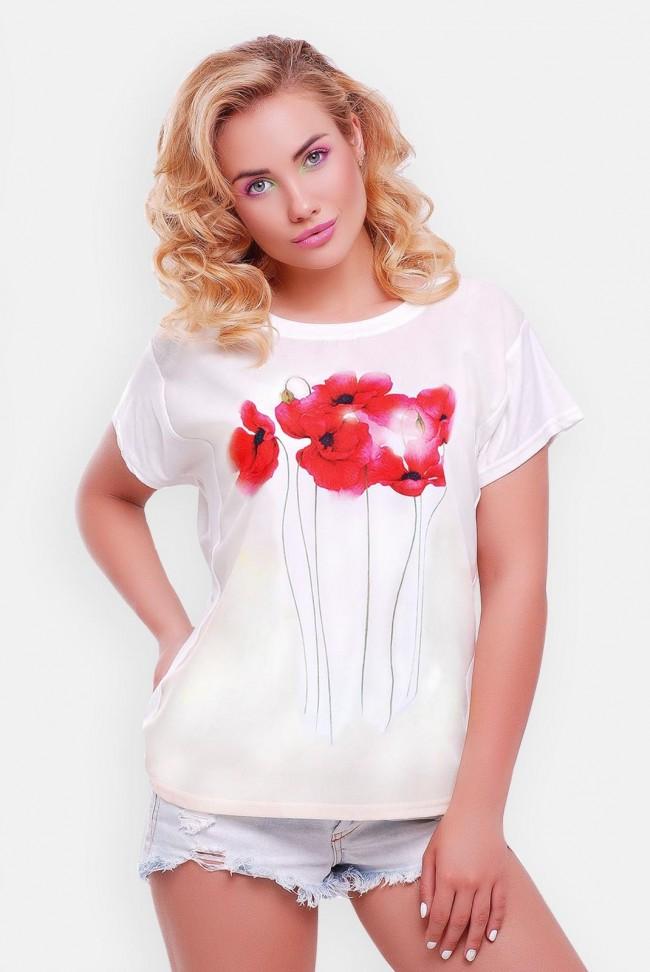 Стильная женская футболка с маками оптом на Niko-Opt - FB-1140T