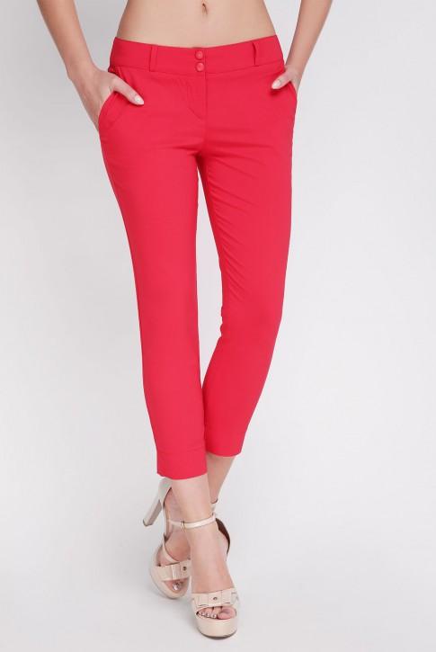 Укороченные красные брюки. BRK-012A
