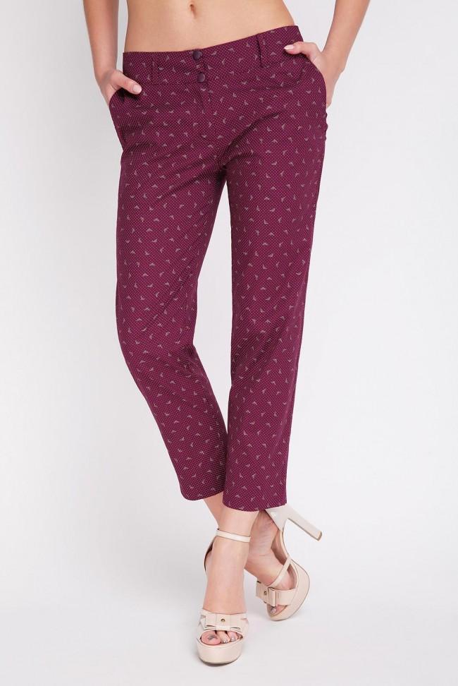 Бордовые женские брюки укороченного фасона. LSN-126C-3