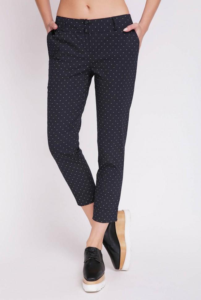 Черные хлопковые брюки в мелкую точку. LSN-126B-1