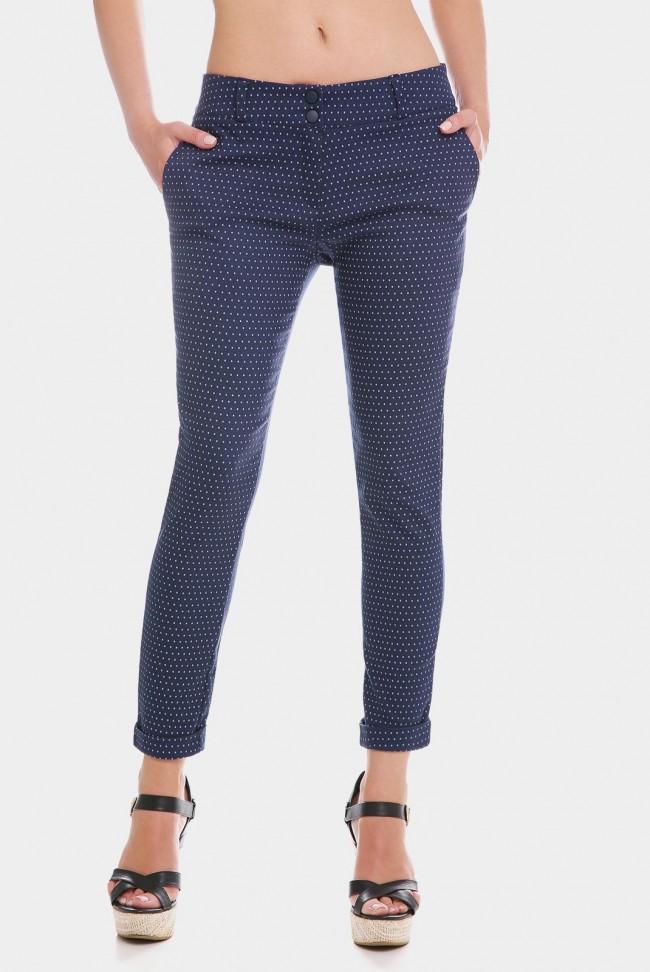Укороченные женские брюки 7/8 темно-синего цвета в горошек. BRK-286B