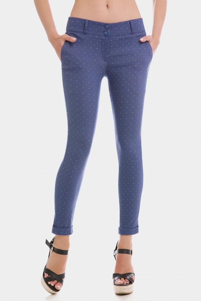 Укороченные женские брюки 7/8 синего цвета в мелкий цветочек. BRK-286C