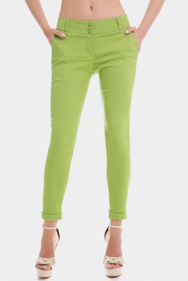 Зеленые укороченные женские брюки 7/8 в мелкий горошек. BRK-286E