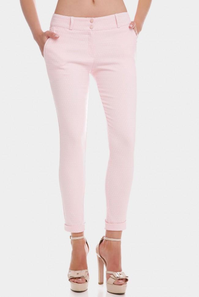 Нежно-розовые укороченные женские брюки 7/8 в мелкий горошек. BRK-286F