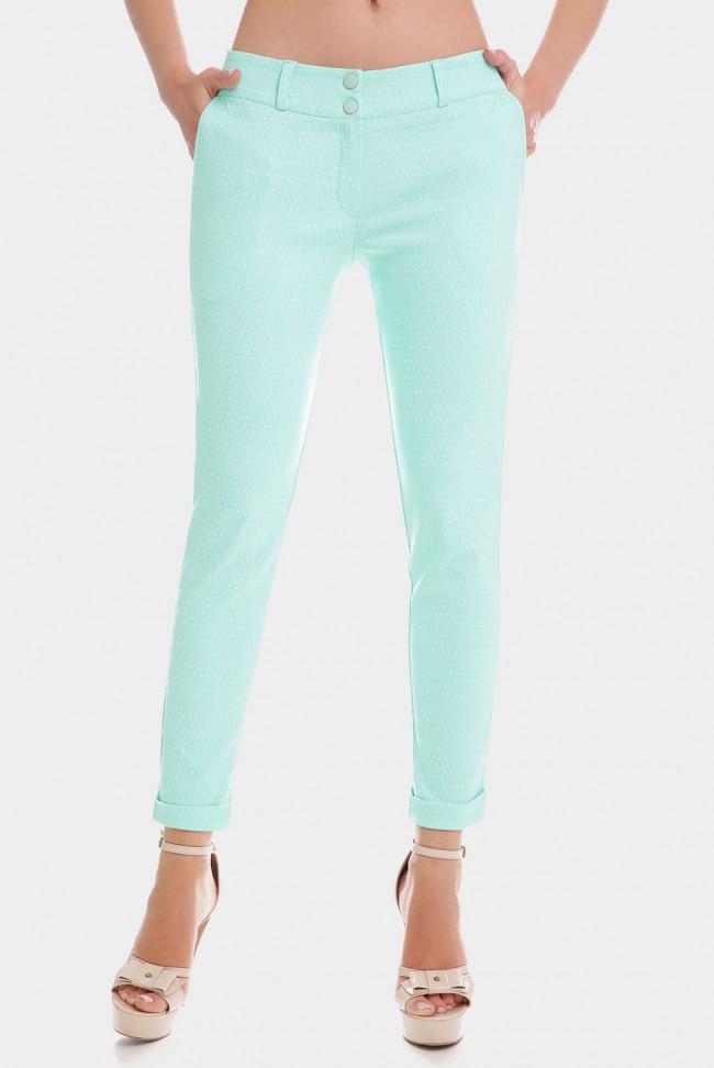 Мятные укороченные женские брюки 7/8 в мелкий горошек. BRK-286G